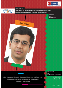 IIM Lucknow's Manjunath Shanmugam: Purpose-Driven Personality and the Value of Values - Interview with Akhil Krishna