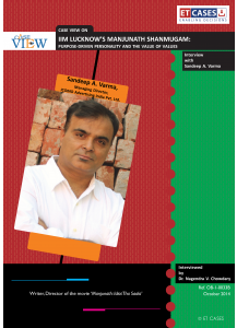 IIM Lucknow's Manjunath Shanmugam: Purpose-Driven Personality and the Value of Values - Interview with Sandeep A. Varma