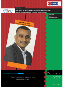 IIM Lucknow's Manjunath Shanmugam: Purpose-Driven Personality and the Value of Values - Interview with Sudhanshu Vats